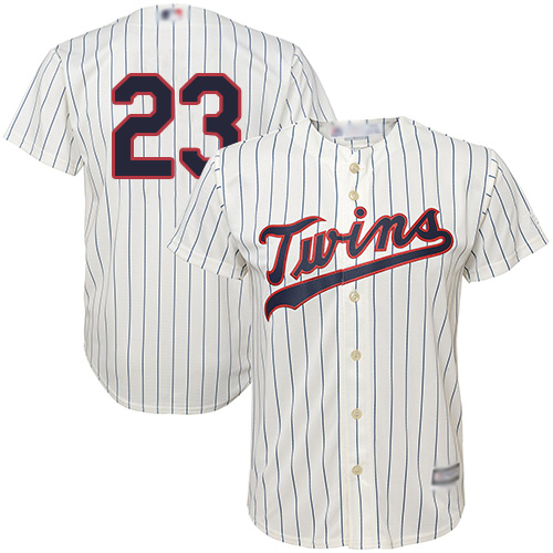 Twins #23 Nelson Cruz Cream Strip Cool Base Stitched Youth Baseball Jersey