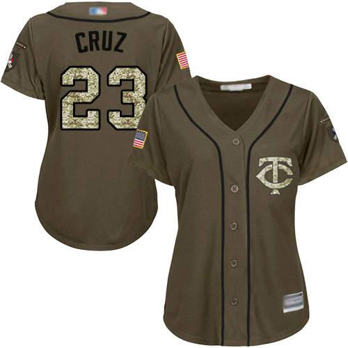 Twins #23 Nelson Cruz Green Salute to Service Women's Stitched Baseball Jersey