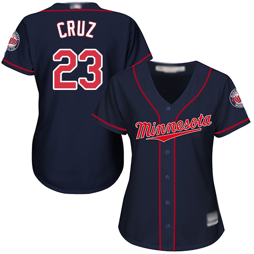 Twins #23 Nelson Cruz Navy Blue Alternate Women's Stitched Baseball Jersey