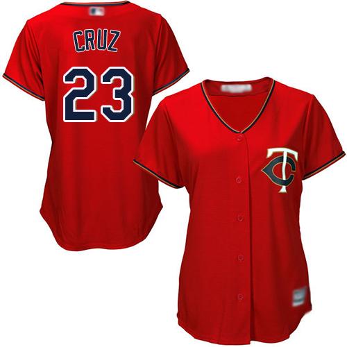 Twins #23 Nelson Cruz Red Alternate Women's Stitched Baseball Jersey