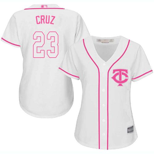 Twins #23 Nelson Cruz White Pink Fashion Women's Stitched Baseball Jersey