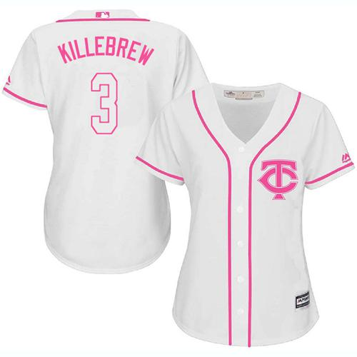 Twins #3 Harmon Killebrew White Pink Fashion Women's Stitched MLB Jersey
