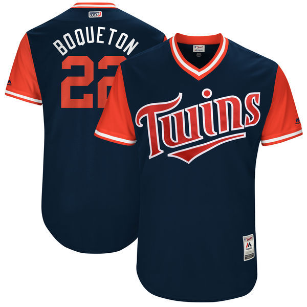 Twins 22 Miguel Sano Boqueton Majestic Navy 2017 Players Weekend Jersey