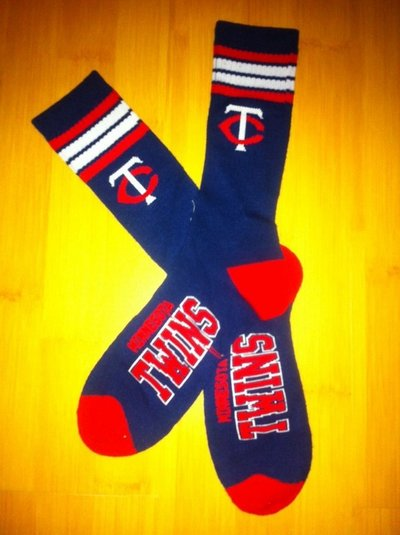 Twins Team Logo Navy Blue MLB Socks