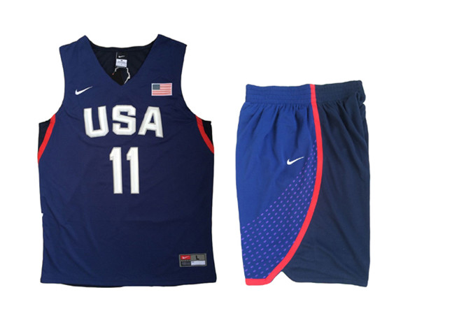 USA 11 Klay Thompson Navy 2016 Olympic Basketball Team Jersey(With Shorts)