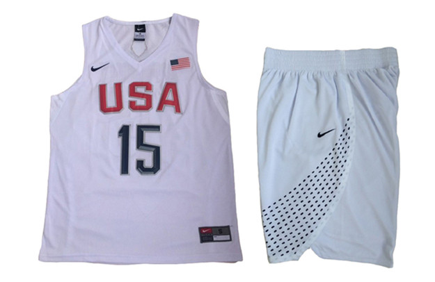 USA 15 Carmelo Anthony White 2016 Olympic Basketball Team Jersey(With Shorts)