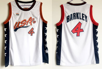 USA 4 Charles Barkley White Dream Team III Jersey