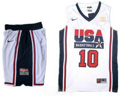 USA Basketball Retro 1992 Olympic Dream Team White Jersey & Shorts Suit #10 Kobe Bryant