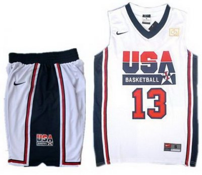 USA Basketball Retro 1992 Olympic Dream Team White Jersey & Shorts Suit #13 Chris Paul