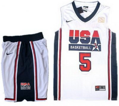 USA Basketball Retro 1992 Olympic Dream Team White Jersey & Shorts Suit #5 Kevin Durant