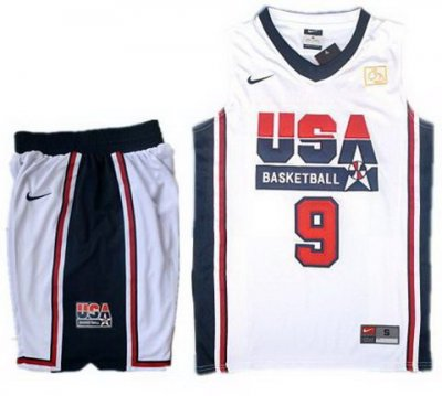 USA Basketball Retro 1992 Olympic Dream Team White Jersey & Shorts Suit #9 Jordan