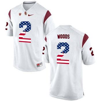 USC Trojans 2 Robert Woods White USA Flag College Football Jersey