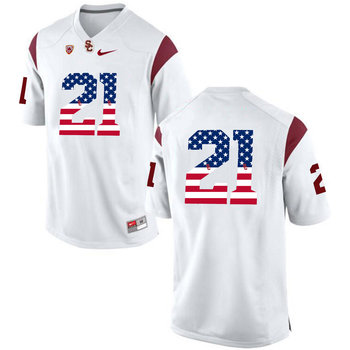 USC Trojans 21 Adoree' Jackson White USA Flag College Football Jersey