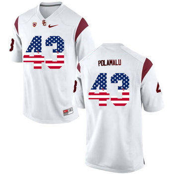 USC Trojans 43 Troy Polamalu White USA Flag College Football Jersey