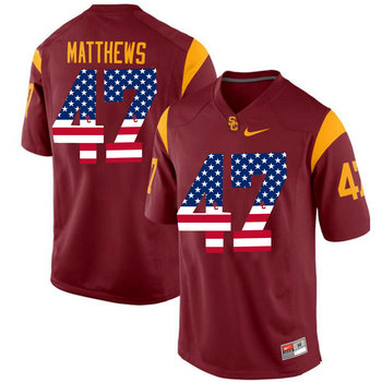 USC Trojans 47 Clay Matthews Red USA Flag College Football Jersey