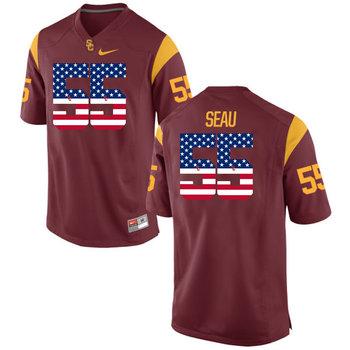 USC Trojans 55 Trojans Seau Red USA Flag College Football Jersey