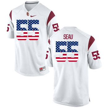 USC Trojans 55 Trojans Seau White USA Flag College Football Jersey
