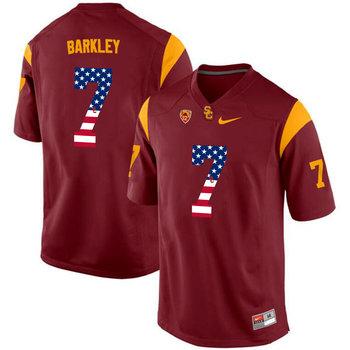 USC Trojans 7 Matt Barkley Red USA Flag College Football Jersey