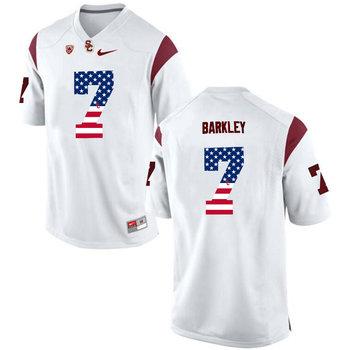 USC Trojans 7 Matt Barkley White USA Flag College Football Jersey