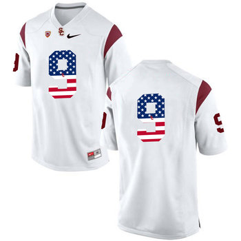 USC Trojans 9 JuJu Smith White USA Flag College Football Jersey