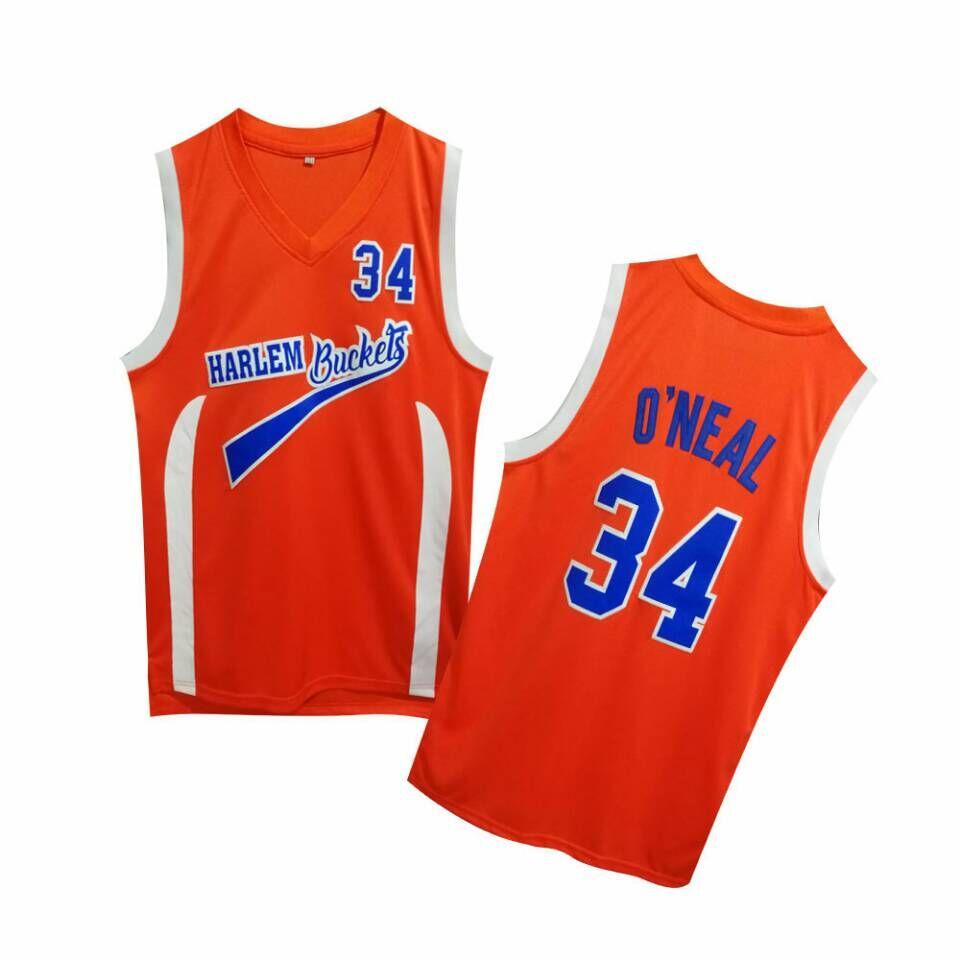 Uncle Drew Harlem Buckets 34 Shaquille O'Neal Orange Movie Basketball Jersey