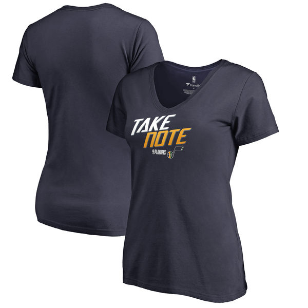 Utah Jazz Fanatics Branded Women's 2018 NBA Playoffs Slogan Plus Size V Neck T-Shirt Navy