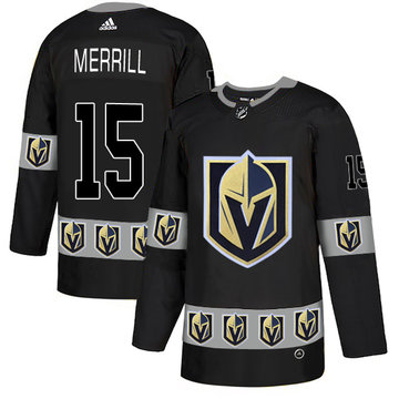 Vegas Golden Knights 15 Jon Merrill Black Team Logos Fashion Adidas Jersey