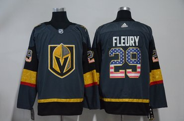 Vegas Golden Knights 29 Marc-Andre Fleury Gray USA Flag Adidas Jersey