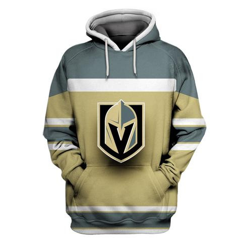 Vegas Golden Knights Gold All Stitched Hooded Sweatshirt