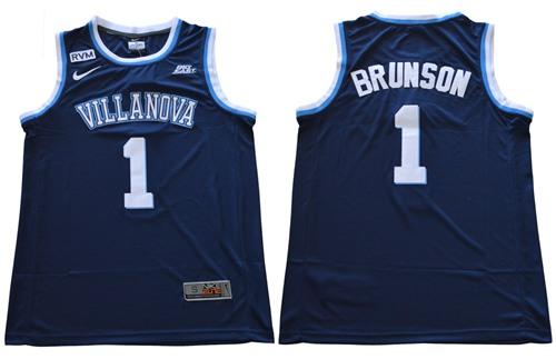 Villanova Wildcats #1 Jalen Brunson Navy Blue Basketball Stitched NCAA Jersey
