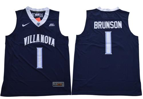 Villanova Wildcats #1 Jalen Brunson Navy Blue Basketball V Neck Stitched NCAA Jersey