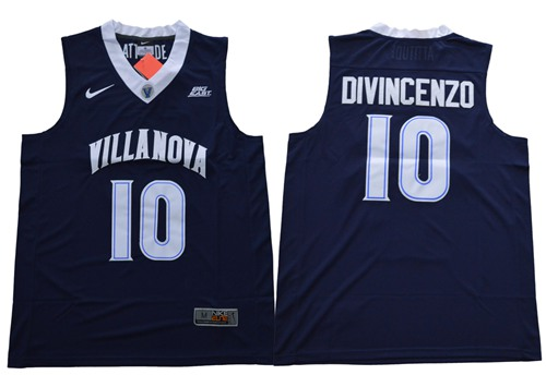 Villanova Wildcats #10 Donte DiVincenzo Navy Blue Basketball V Neck Stitched NCAA Jersey