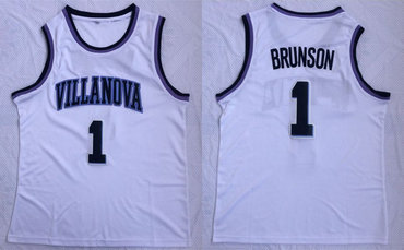 Villanova Wildcats 1 Jalen Brunson White College Basketball Jersey