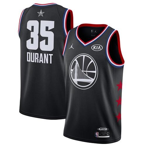 Warriors #35 Kevin Durant Black Basketball Jordan Swingman 2019 All-Star Game Jersey