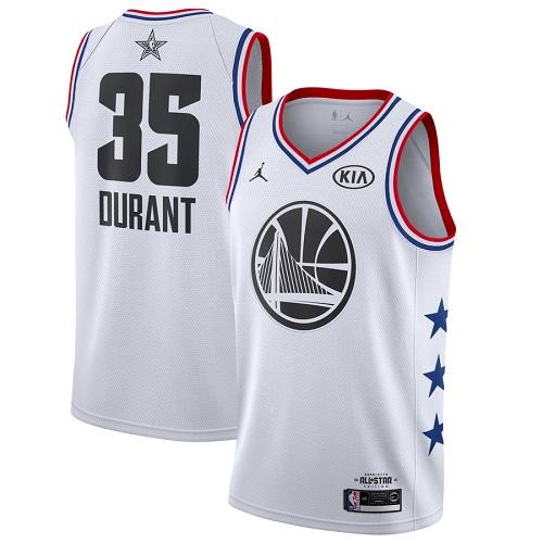 Warriors #35 Kevin Durant White Basketball Jordan Swingman 2019 All-Star Game Jersey