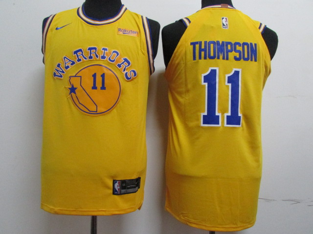 Warriors 11 Klay Thompson Yellow Throwback Nike Authentic Jersey