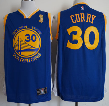 Warriors 30 Stephen Curry Blue 2018 NBA Champions Nike Swingman Jersey
