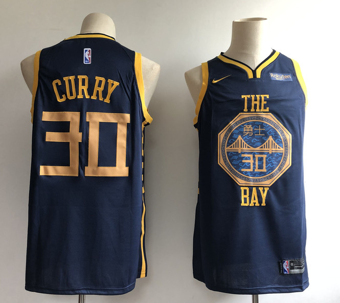 Warriors 30 Stephen Curry Navy 2018-19 City Edition Nike Swingman Jersey