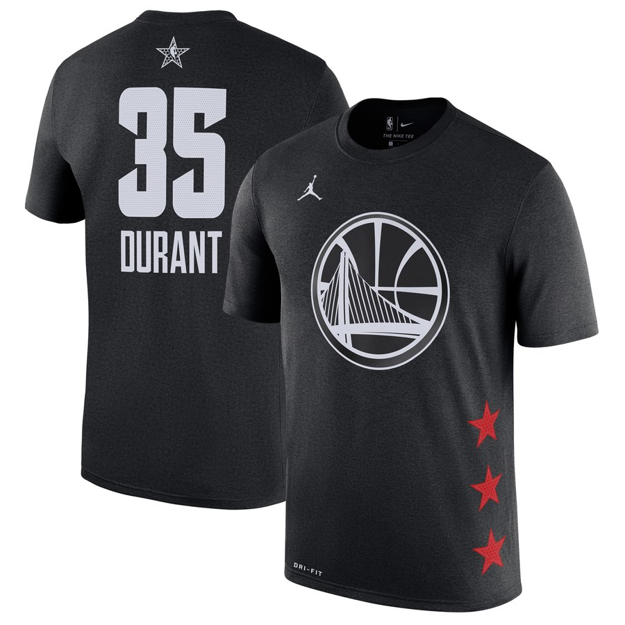 Warriors 35 Kevin Durant Black 2019 NBA All-Star Game Men's T-Shirt