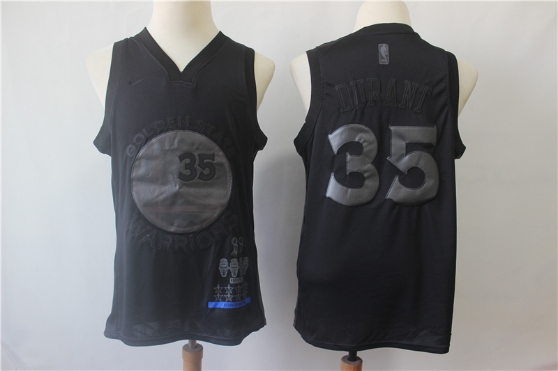 Warriors 35 Kevin Durant Black Nike Swingman MVP Jersey