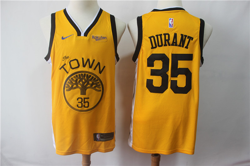 Warriors 35 Kevin Durant Yellow 2018-19 Earned Edition Nike Swingman Jersey