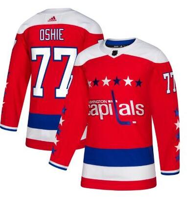 Washington Capitals #77 T.J. Oshie Authentic Red Third NHL Jersey