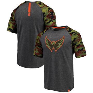 Washington Capitals Fanatics Branded Heathered Gray Camo Recon Camo Raglan T-Shirt