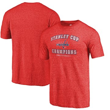 Washington Capitals Fanatics Branded Red 2018 Stanley Cup Champions Backchecking Tri Blend T-Shirt