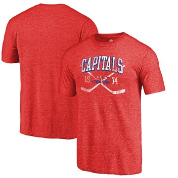 Washington Capitals Fanatics Branded Red Vintage Collection Line Shift Tri Blend T-Shirt