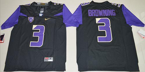 Washington Huskies #3 Jake Browning Black Limited Stitched NCAA Jersey