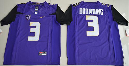 Washington Huskies #3 Jake Browning Purple Limited Stitched NCAA Jersey