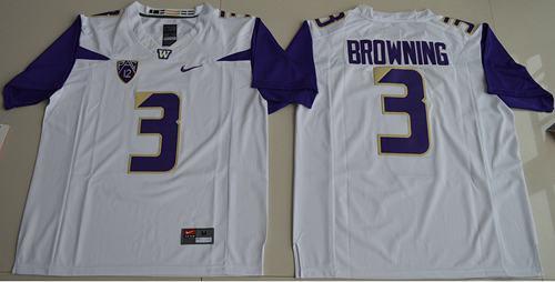 Washington Huskies #3 Jake Browning White Limited Stitched NCAA Jersey