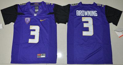 Washington Huskies 3 Jake Browning Purple Youth College Jersey