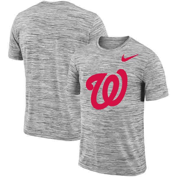 Washington Nationals Nike Heathered Black Sideline Legend Velocity Travel Performance T-Shirt